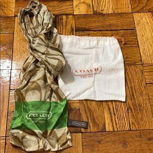 Coach 100 percent silk skinny scarf